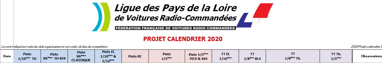 Projet de calendrier 2020